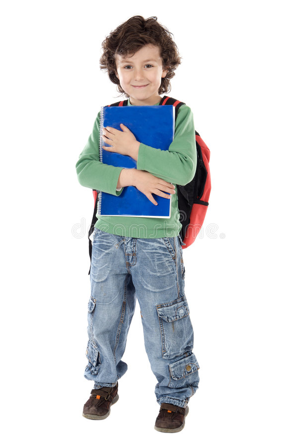 Child student. Adorable child student a over white background stock image