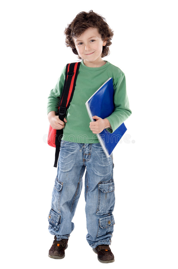 Child student. Adorable child student a over white background stock photos