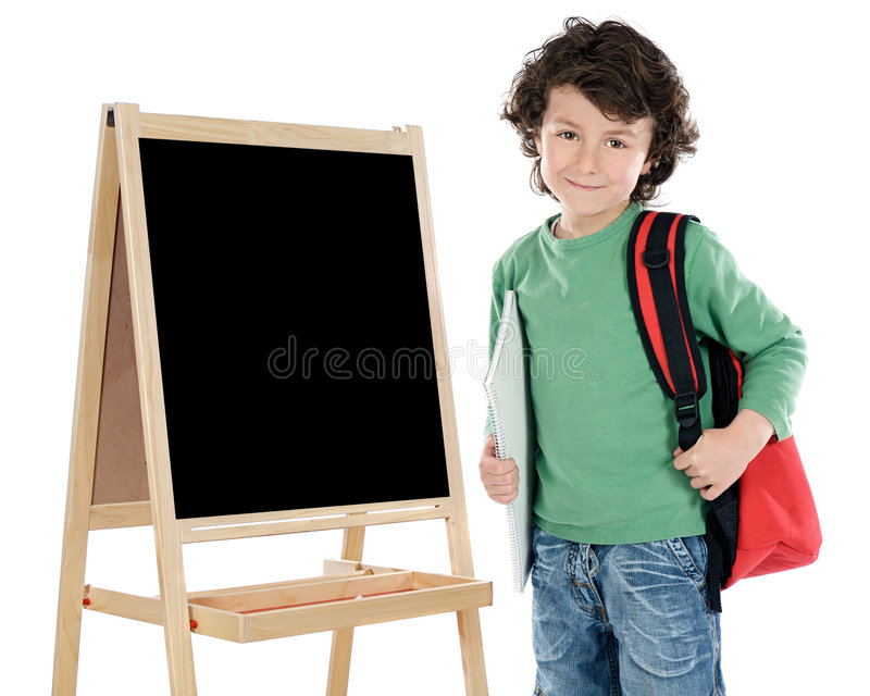 Child student. Adorable child student a over white background royalty free stock image