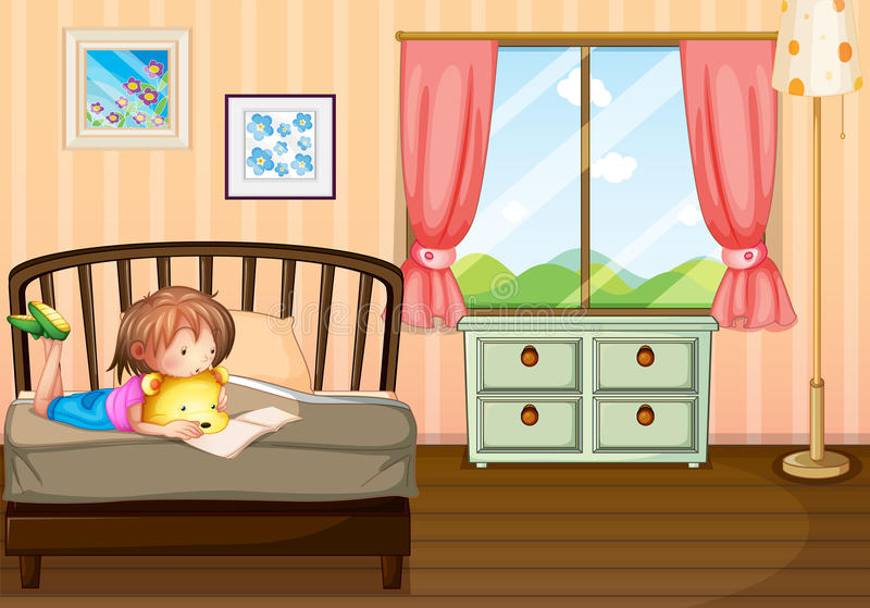 A child studying inside her room royalty free illustration