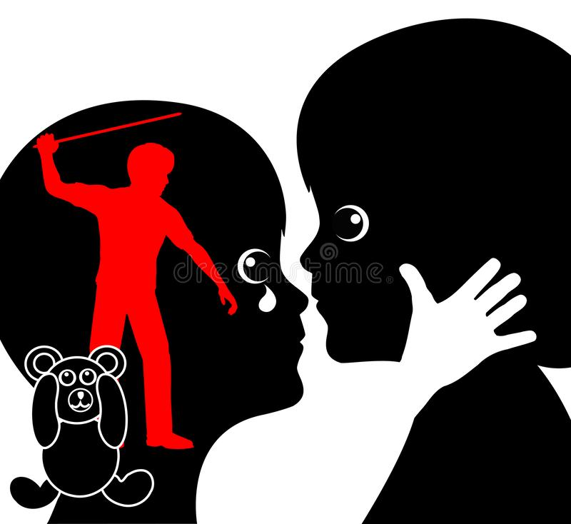 Child suffering from corporal punishment vector illustration