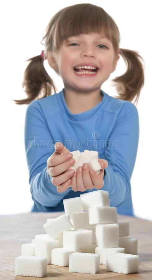 Download Child with sugar cubes stock image. Image of piece, happy - 23225329