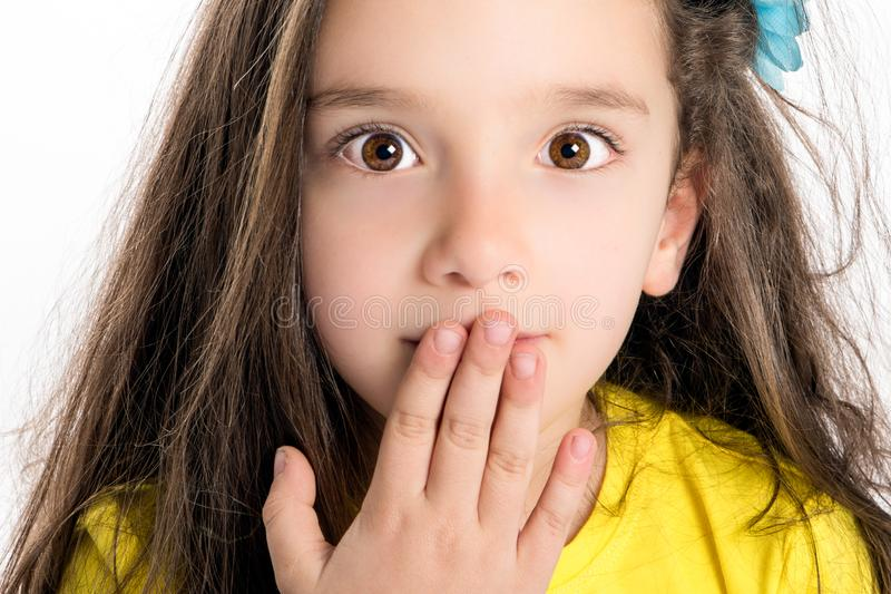 Child with a surprised expression royalty free stock photography
