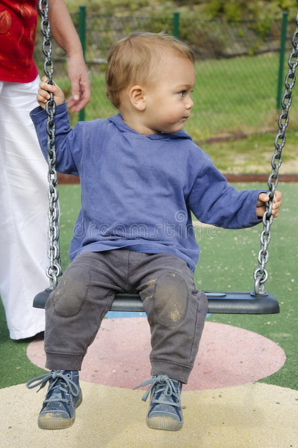 Download Child on swing stock image. Image of play, person, area - 27154623