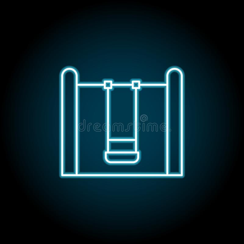 Child swing blue neon icon. Simple thin line, outline vector of amusement icons for ui and ux, website or mobile application stock illustration