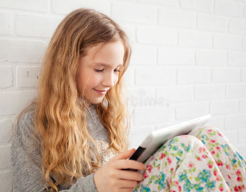 Child with tablet stock photos
