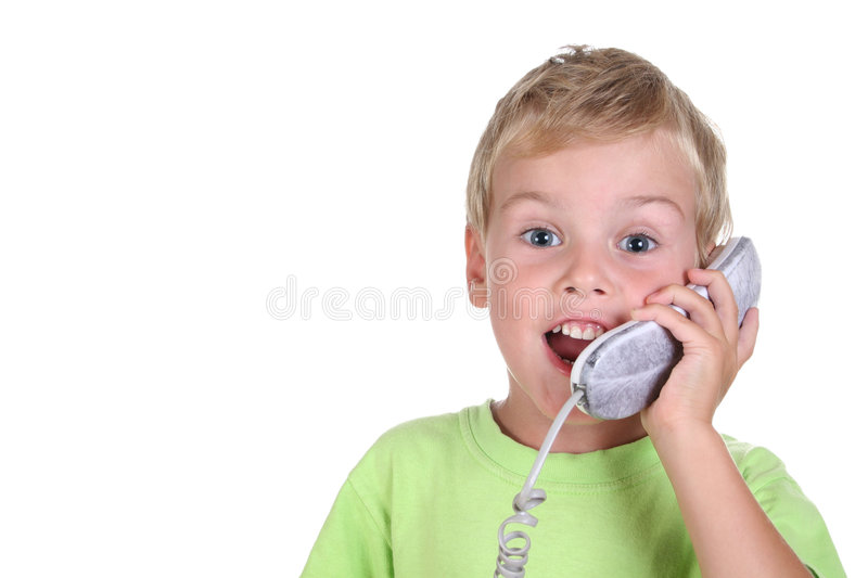 Child talk phone royalty free stock images