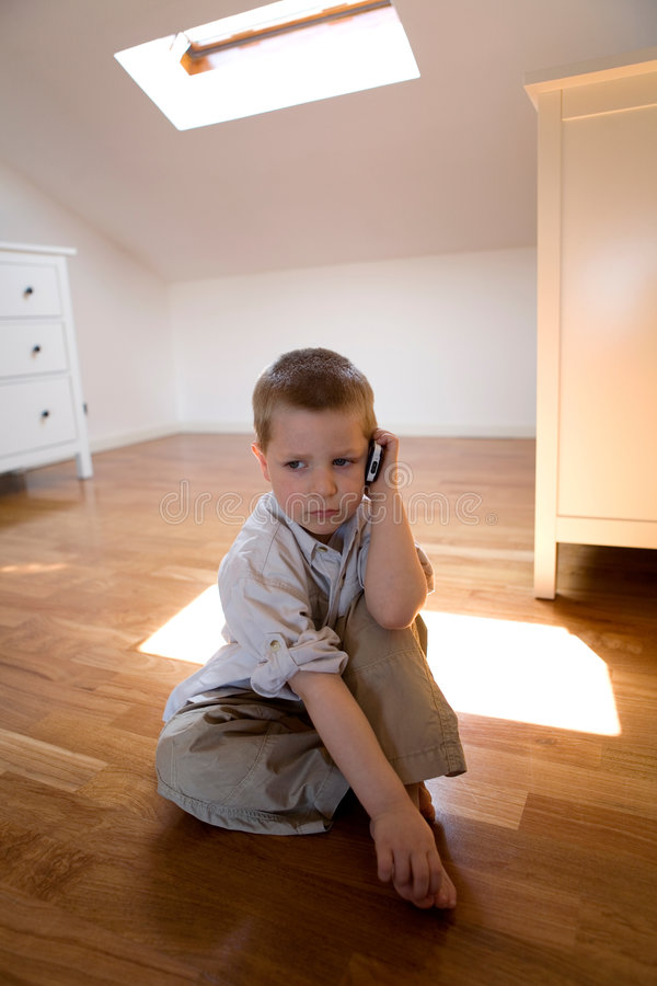 Download Child Talking With Cell Phone Stock Image - Image of mobile, home: 2317437