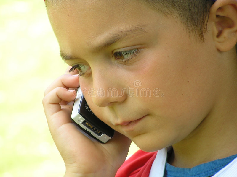 Download Child Talking In Mobile Phone Stock Image - Image of telephone, tell: 168867