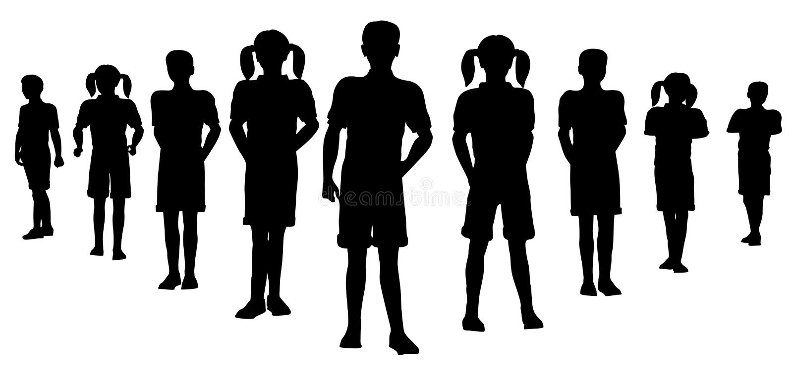 Child team silhouette stock illustration
