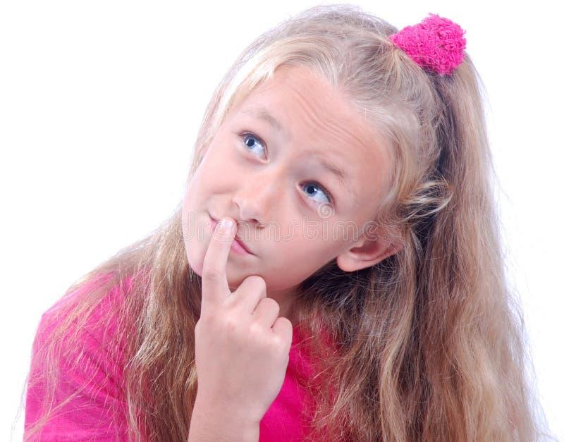 Download Child thinking stock image. Image of dressed, beautiful - 19937087