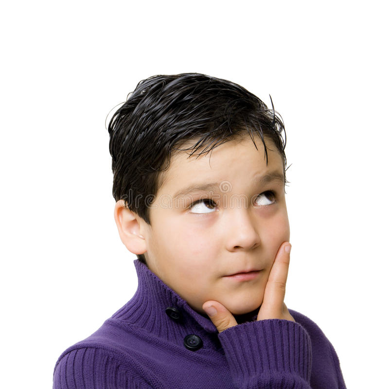 Child thinking. Attitude with white background royalty free stock images