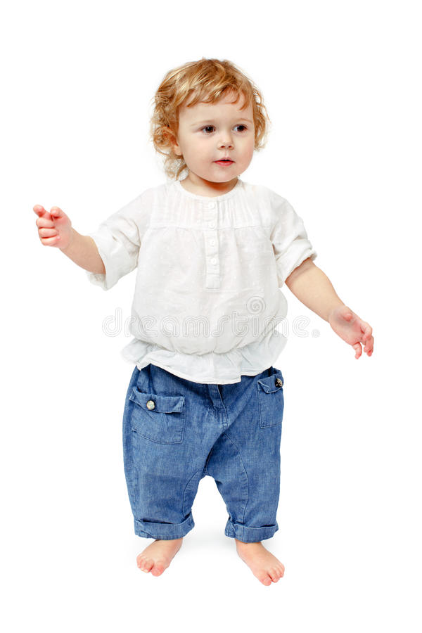 Child thinking on a white background royalty free stock photography