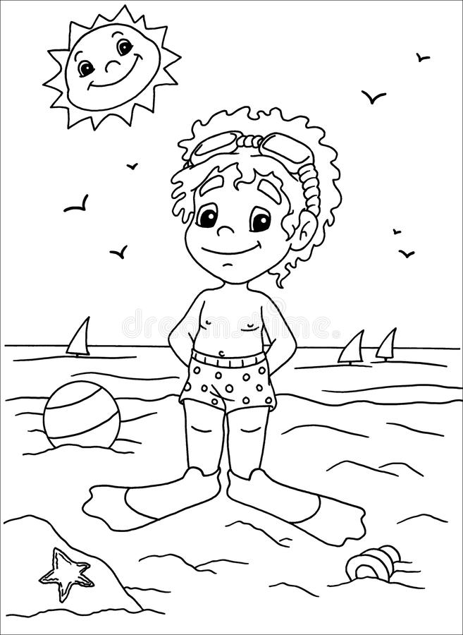 Download Child To The Sea In Black And White Stock Illustration - Illustration of smiled, warm: 14721145