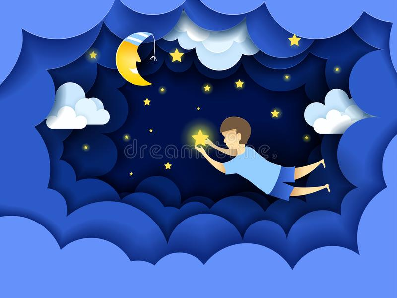 Child touching the stars in the sky. Kids dream vector illustration in paper art origami style. Paper cut design concept. Fairy tale wallpaper in baby room royalty free illustration