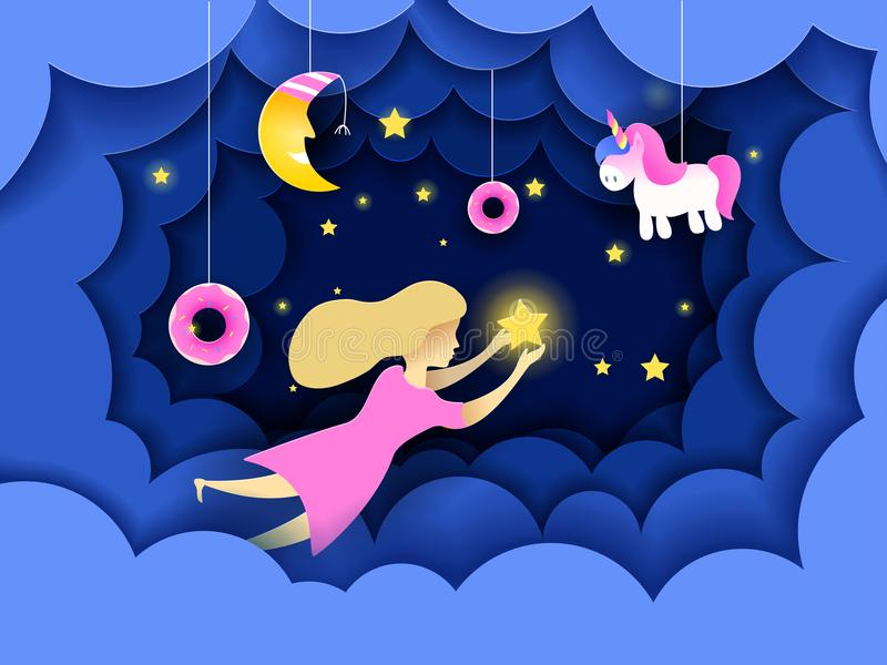 Child touching the stars in the sky. Kids dream vector illustration in paper art origami style. Paper cut design concept. Fairy tale wallpaper in baby room vector illustration