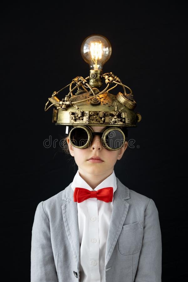Child with toy virtual reality headset royalty free stock image