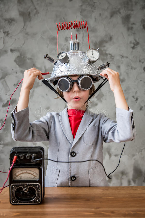 Child with toy virtual reality headset stock photography