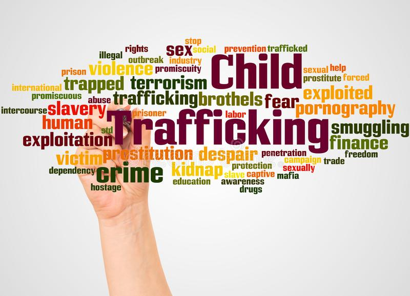 Child Trafficking word cloud and hand with marker concept. On gradient background royalty free stock photography