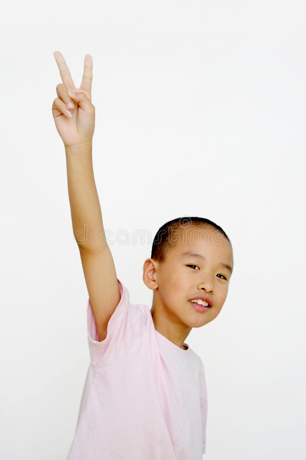 Download Child and  two fingers stock image. Image of white, male - 25939965
