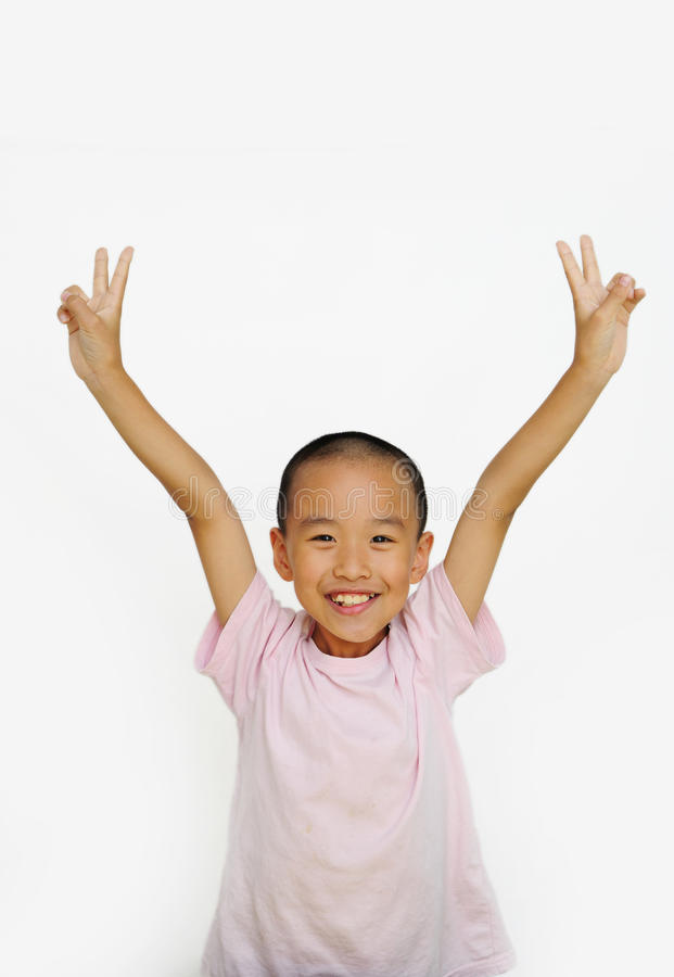Download Child and  two fingers stock image. Image of success - 25939967