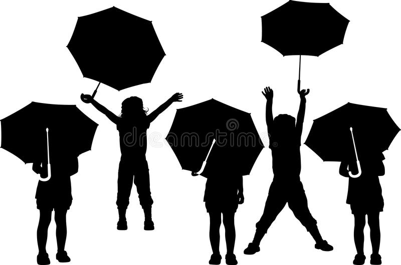 Child With Umbrella Stock Vector. Illustration Of