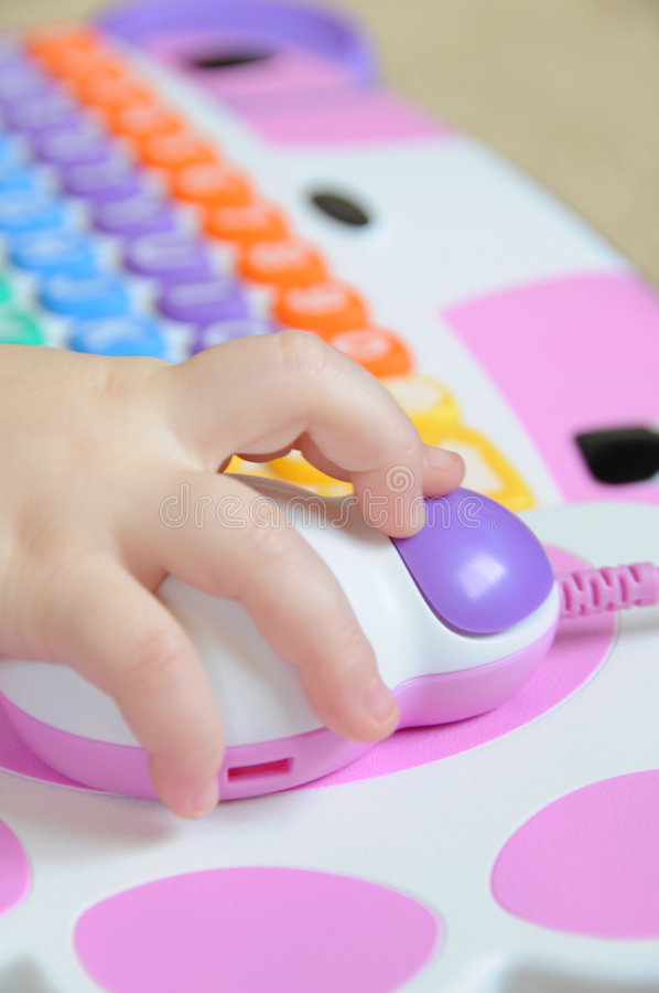 Child using Computer Mouse stock photography