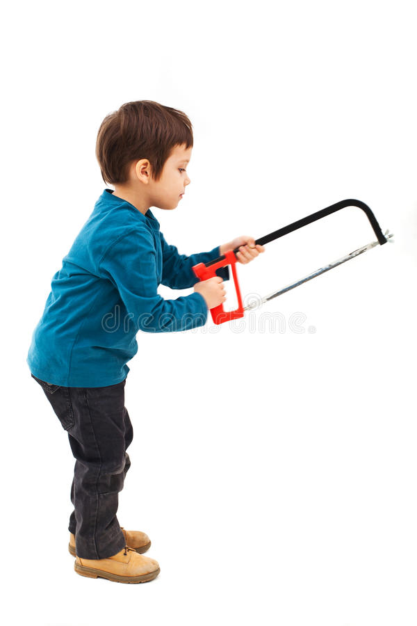 Download Child Using Saw Stock Photo - Image: 33023780