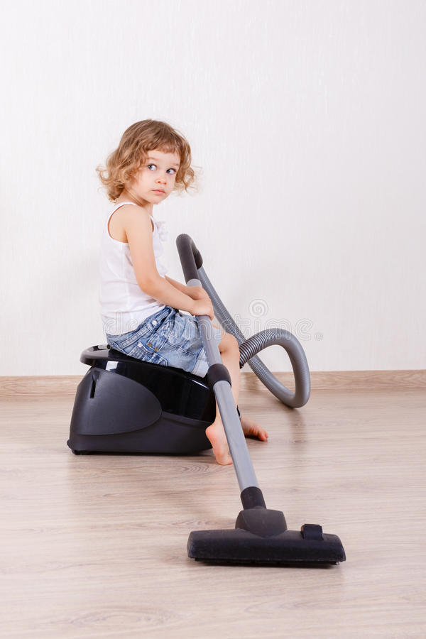 Child With Vacuum Cleaner Stock Image Image Of Cleaner