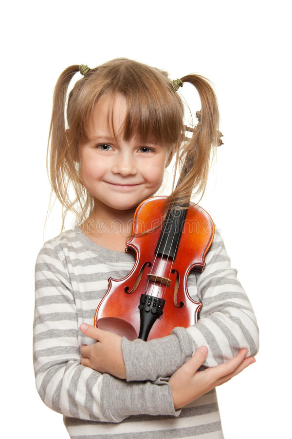 Child with violin stock photography