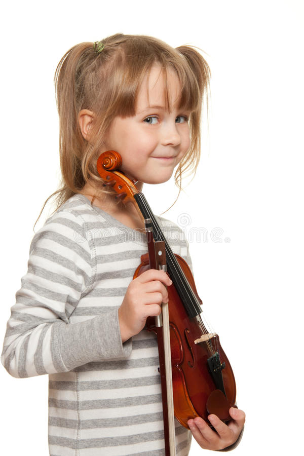 Child with violin stock images