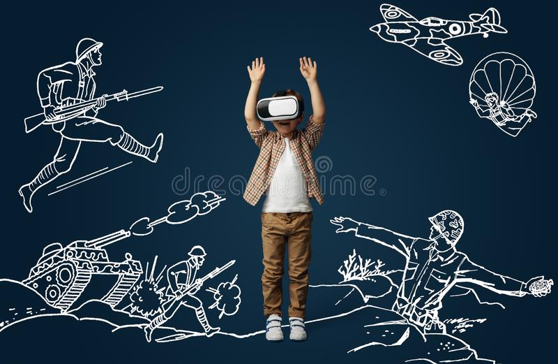 Child with virtual reality headset stock image