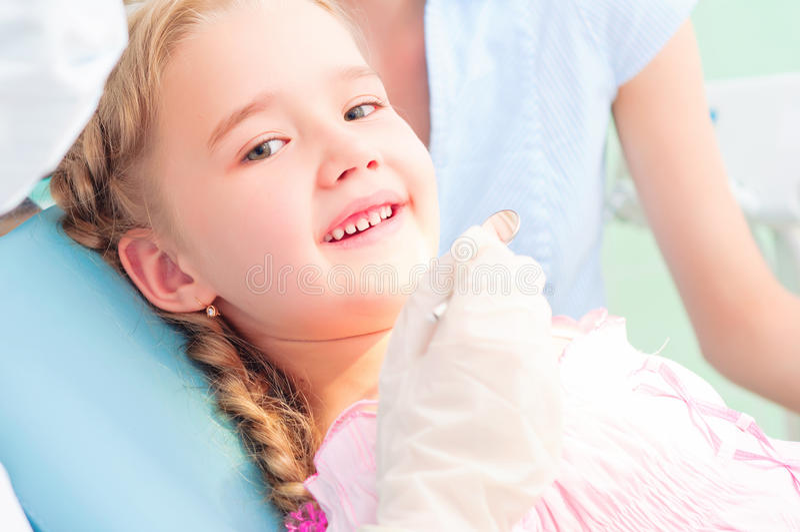 Child visits a dentist stock photo