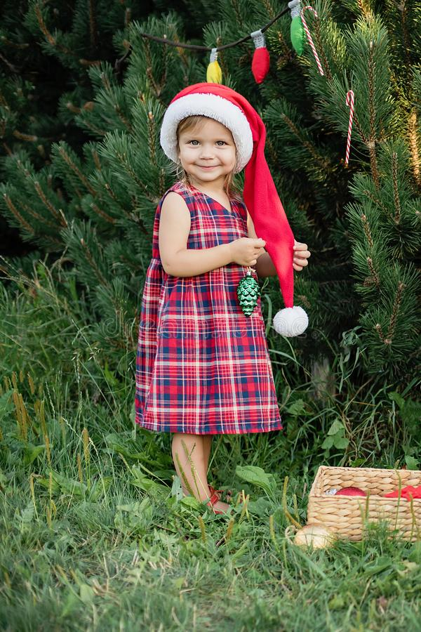 Child waiting for a Christmas in wood in juli. portrait of little children near christmas tree. girl decorating christmas tree royalty free stock photography