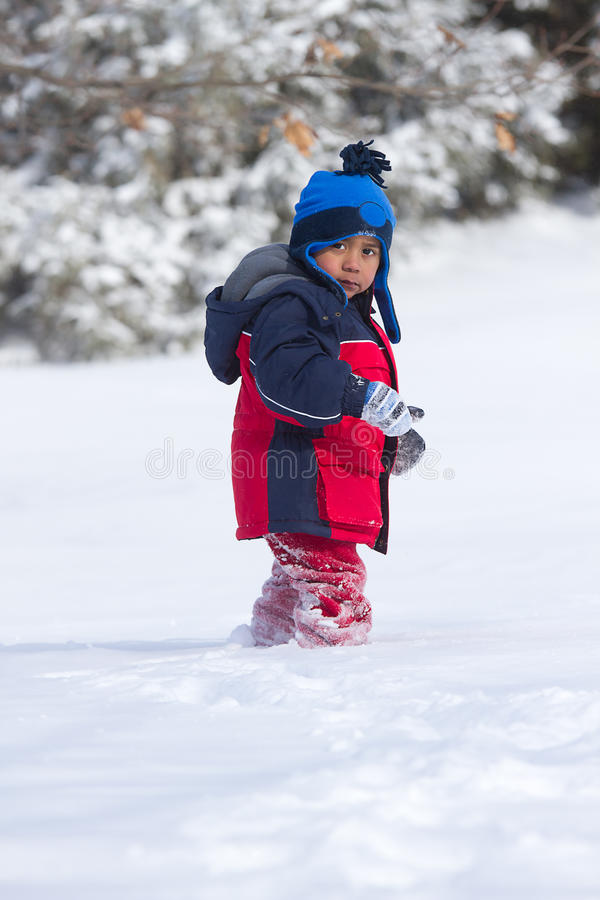 Download Child walking on snow stock photo. Image of winter, coat - 22014014