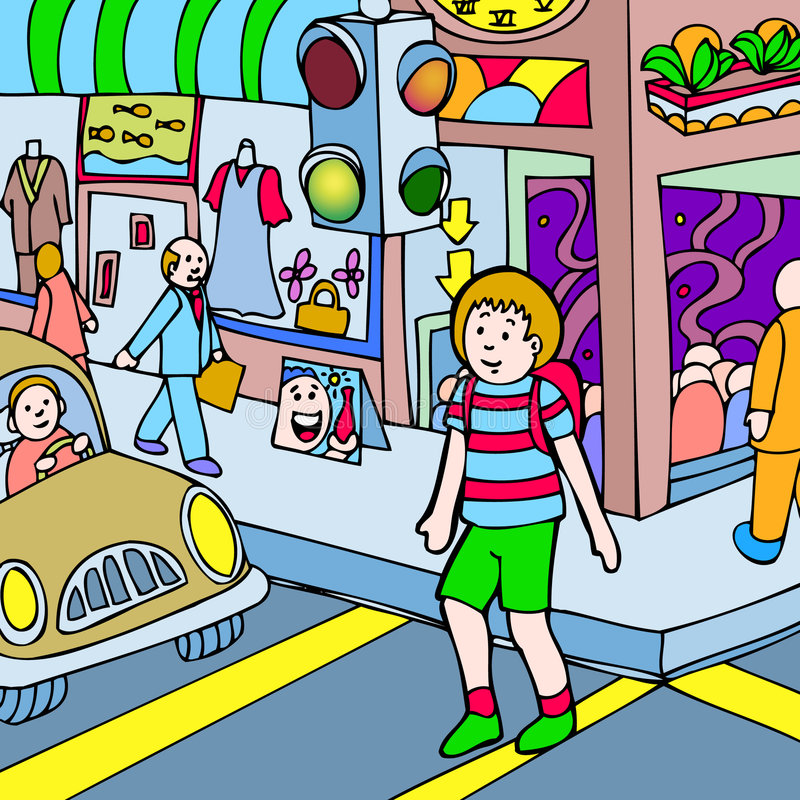 Child walks across the street royalty free illustration