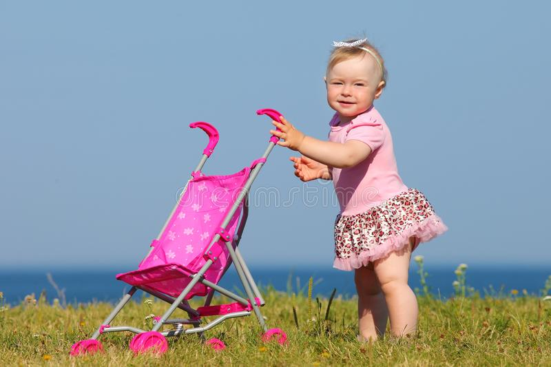 Child walks by the sea. Small child walks by the sea royalty free stock photos