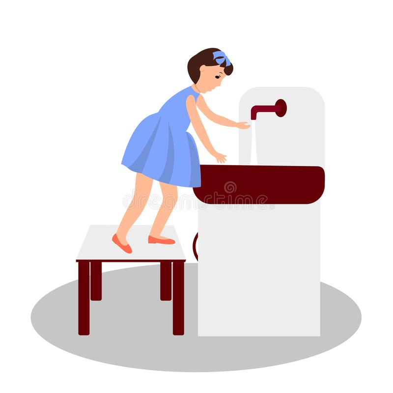 The child washes his hands. Vector color illustration. The child washes his hands. Vector color illustration vector illustration