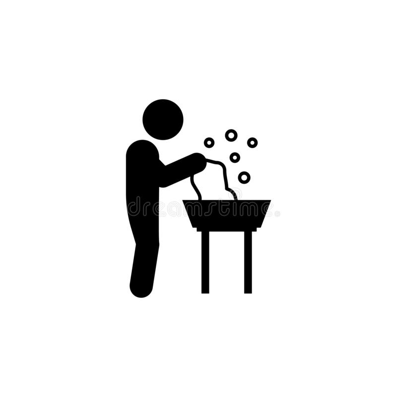 Child, washing clothes icon. Element of glyph self independent child icon for mobile concept and web apps. Glyph child, washing cl. Othes icon can be used for vector illustration