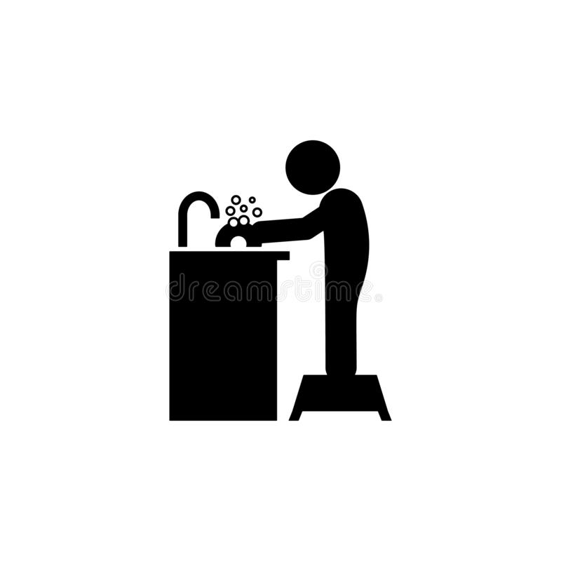 Child, washing icon. Element of glyph self independent child icon for mobile concept and web apps. Glyph child, washing icon can. Be used for web and mobile on vector illustration