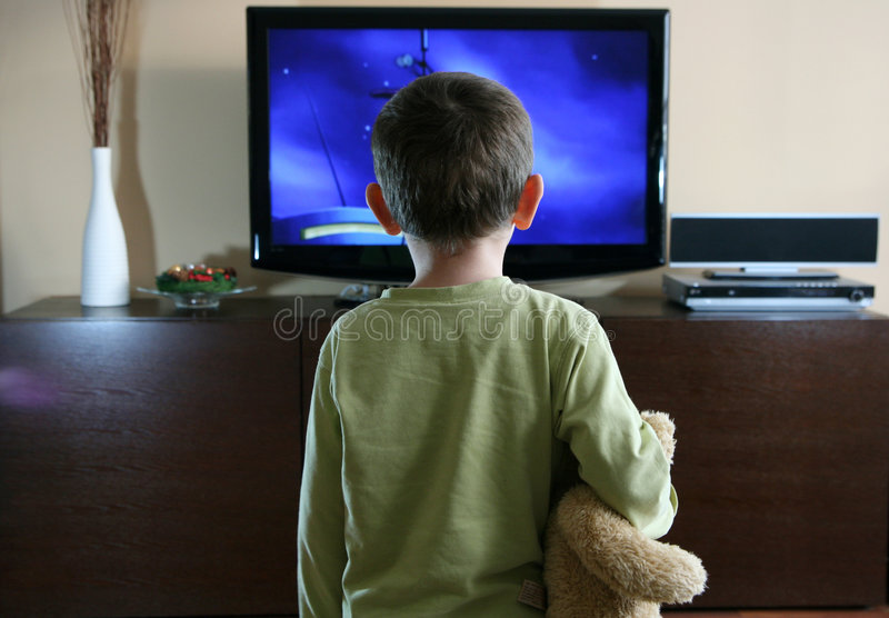 Download Child watching TV stock photo. Image of daydreaming, family - 4007344