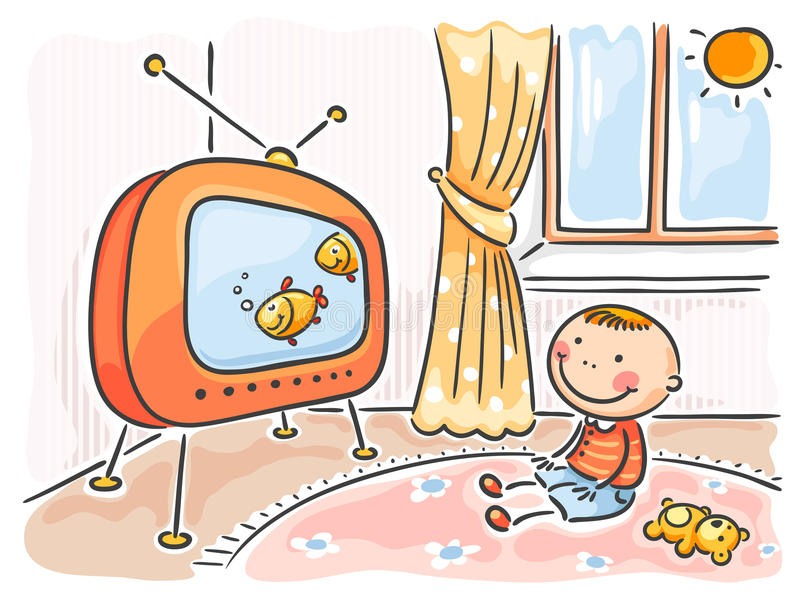 Child watching TV in his room stock illustration