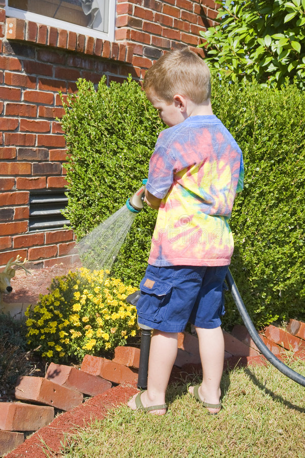 Download Child watering plants stock image. Image of backyard, helper - 6543189
