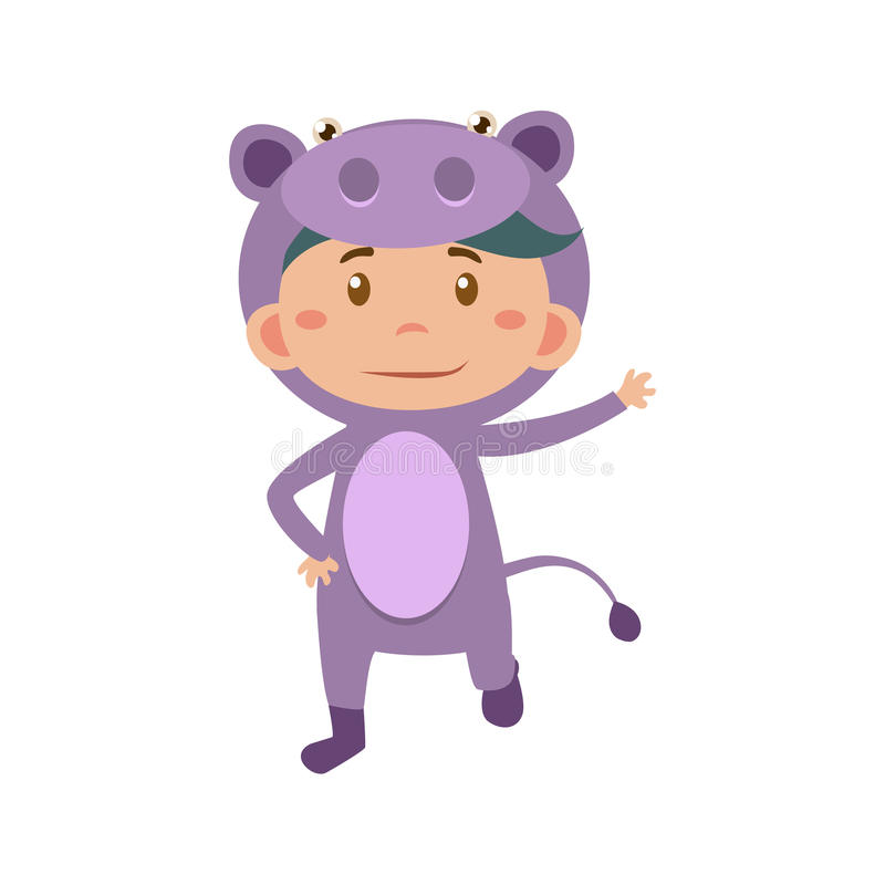Child Wearing Costume of Hippo. Vector Illustration stock illustration