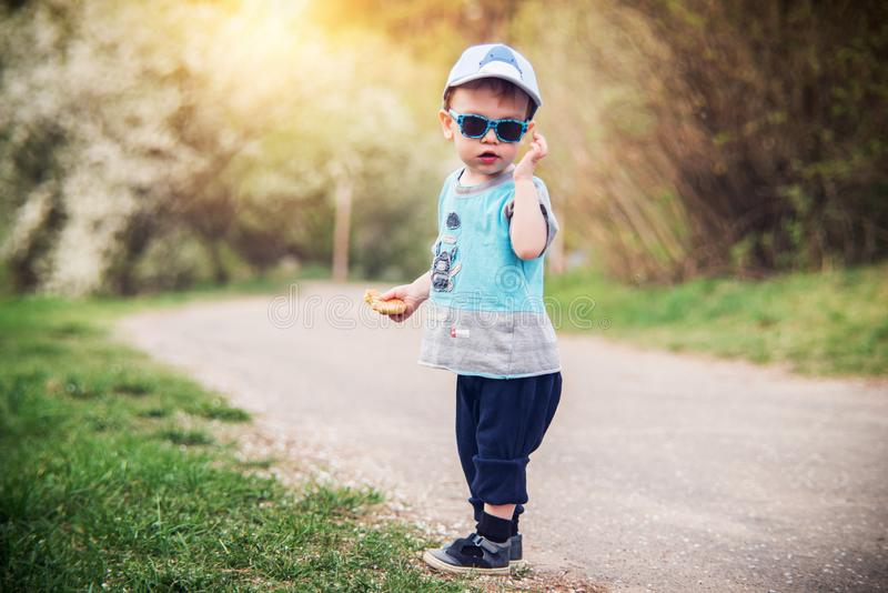 Sweet cute little boy posing in sunny park royalty free stock images