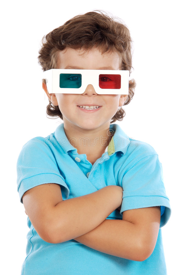 Download Child Whit 3d Glasses Stock Image - Image: 3382831