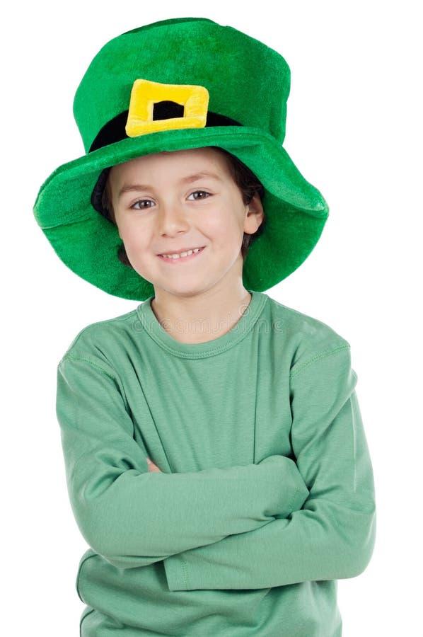 Child whit hat of Saint Patrick's royalty free stock photo