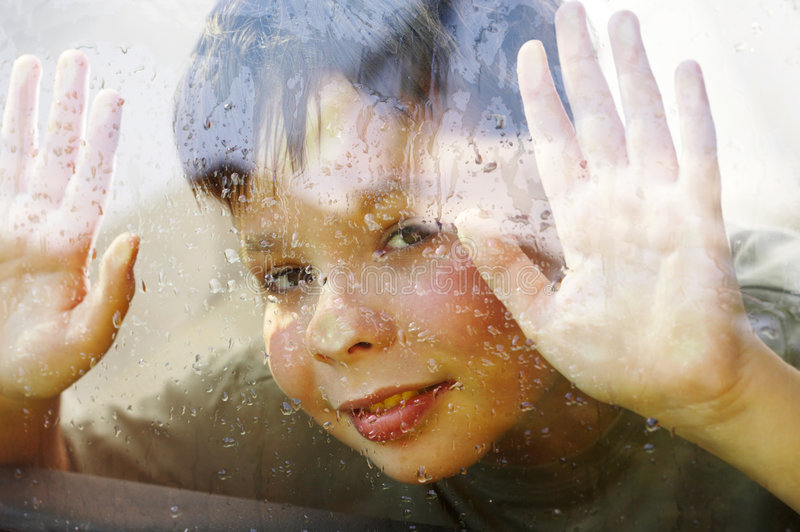 Download Child And Window On A Wet Rainy Day Stock Image - Image of people, downpour: 6260177