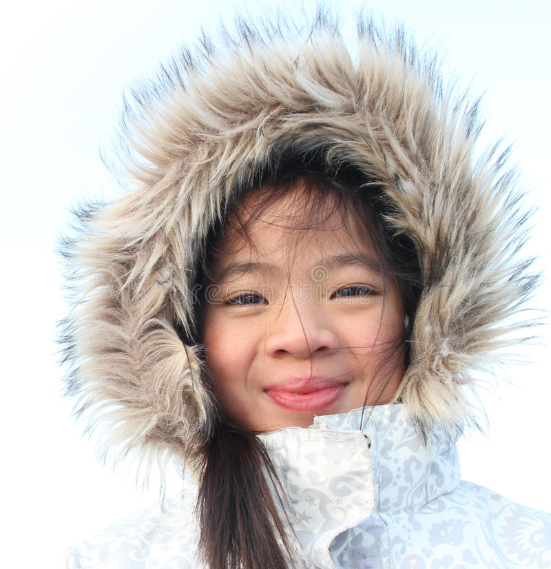 Child in winter stock images