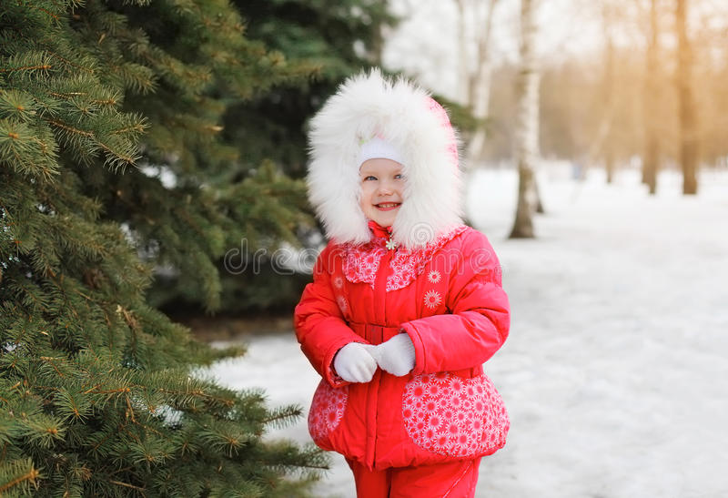 Child in winter forest near christmas tree royalty free stock images